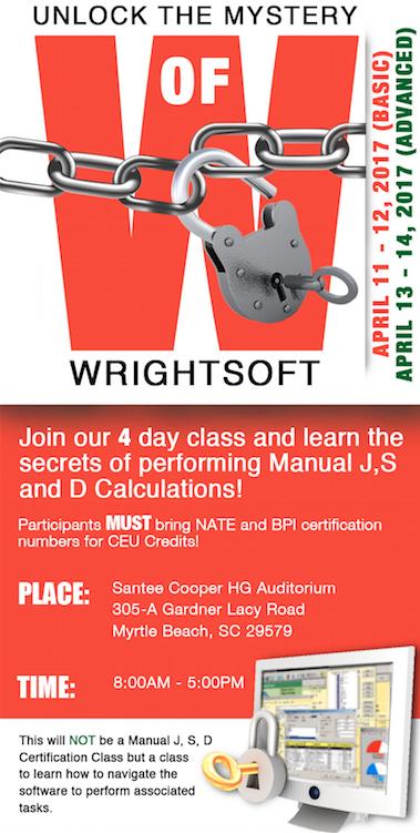 Advanced Wrightsoft Class Coming Soon . . . Agenda Information